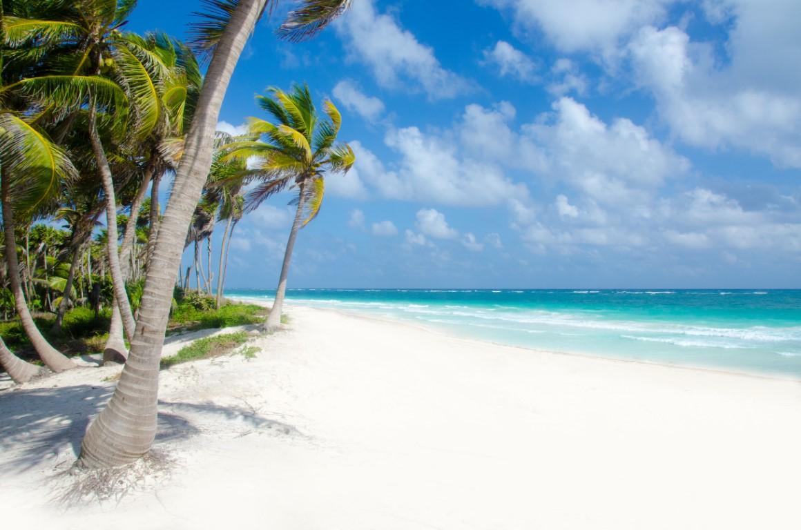 Beautiful beach at Tulum in Mexico