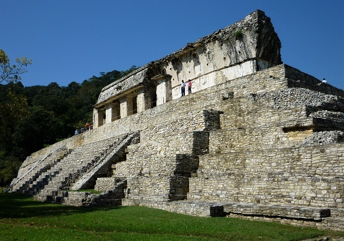 Side view of a pyramid at Palenque