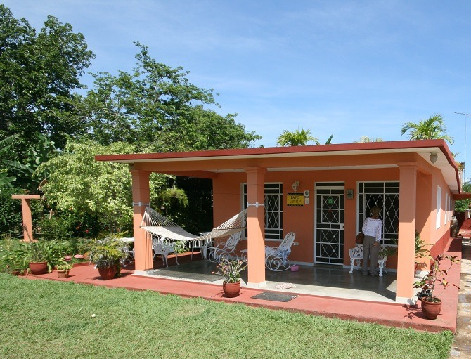 The garden and exterior of Papo y Niulvys in Vinales, Cuba