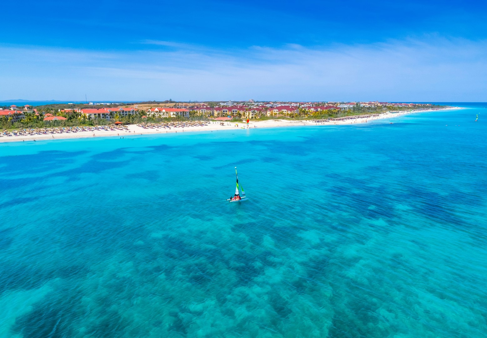 Aerial view of beach and hotel at Paradisus Princesa Varadero