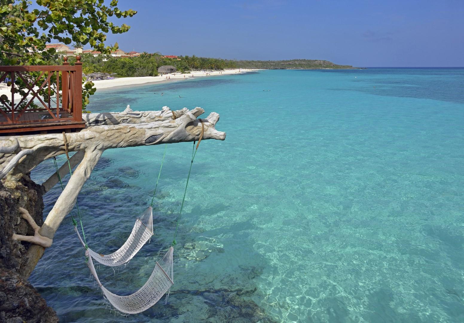 Hammock hanging over sea at Paradisus Rio de Oro