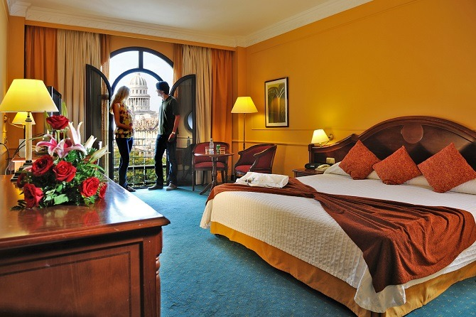 A bedroom at the Parque Central hotel in Havana, Cuba