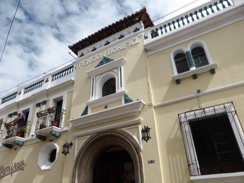 Exterior of Pension Bonifaz in Quetzaltenango