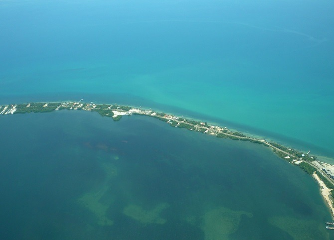 An aerial shot of the Placencia peninsula