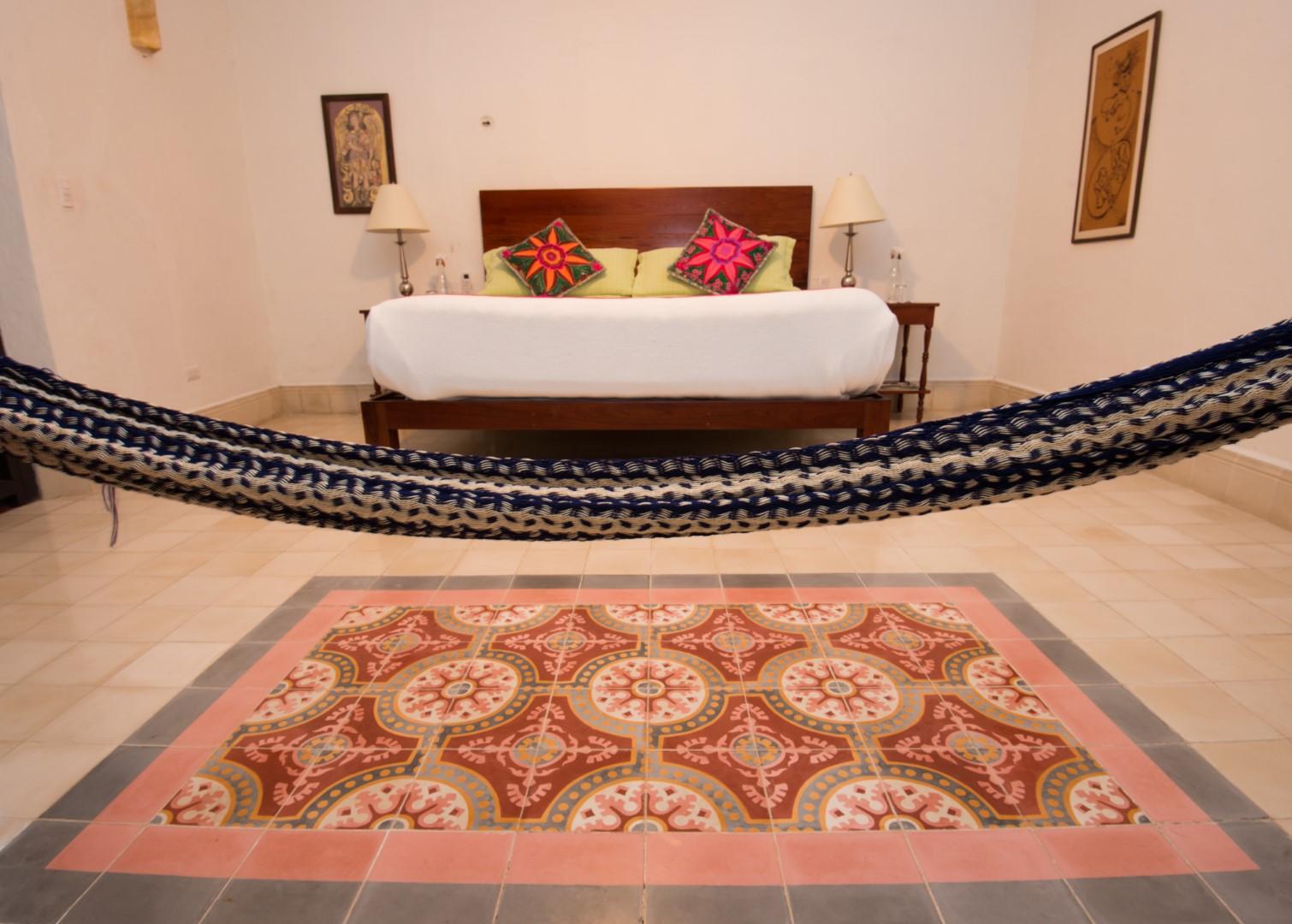 Room with hammock at Posada San Juan Valladolid