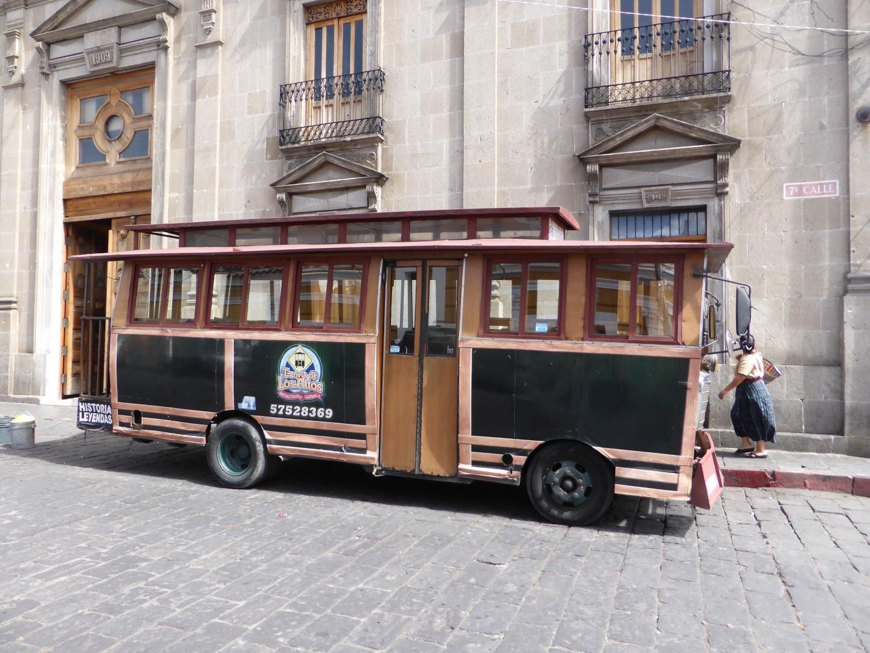 Tour bus in Quetzaltenango, Guatemala