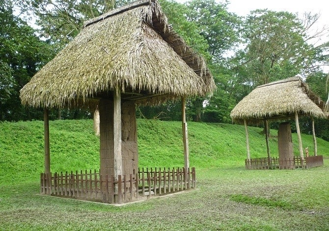 A pair of stelae in the UNESCO World Heritage site of Quirigua, Guatemala