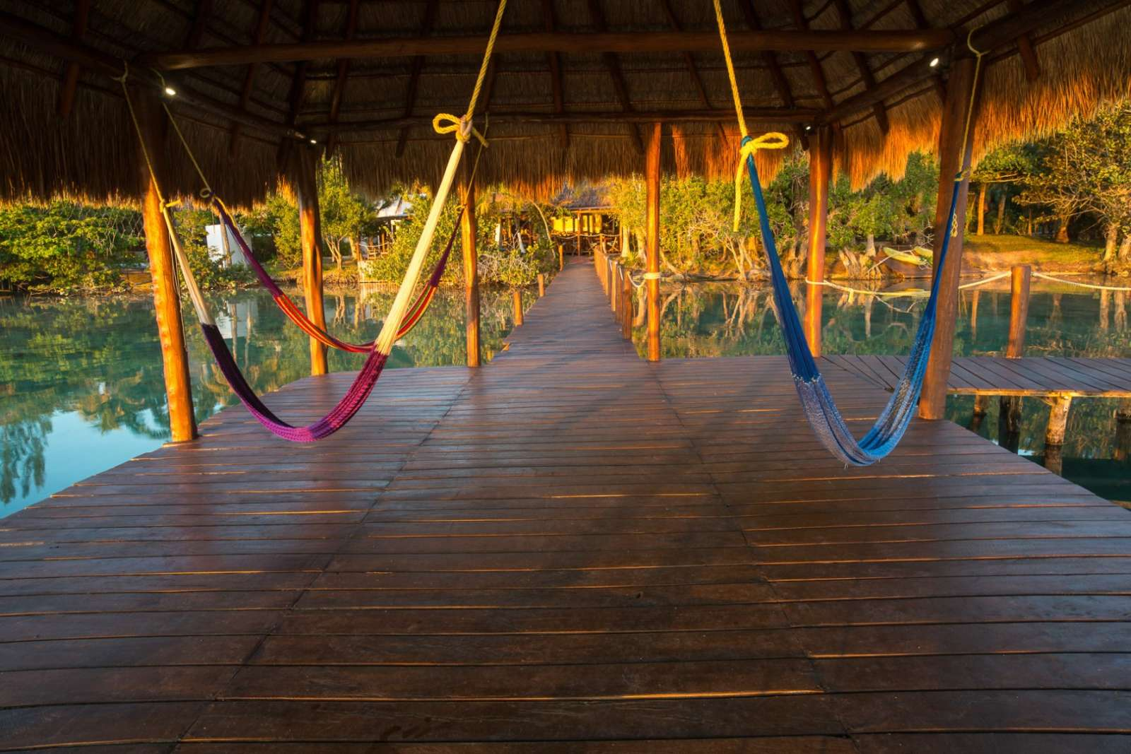 Hammocks at Rancho Encantado Bacalar