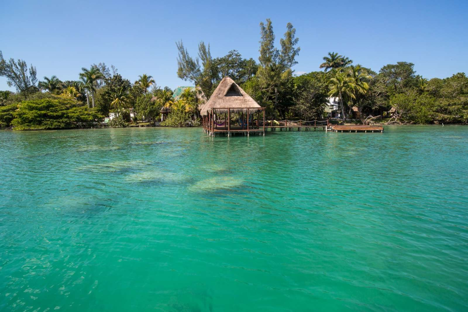 Lake view of Rancho Encantado Bacalar