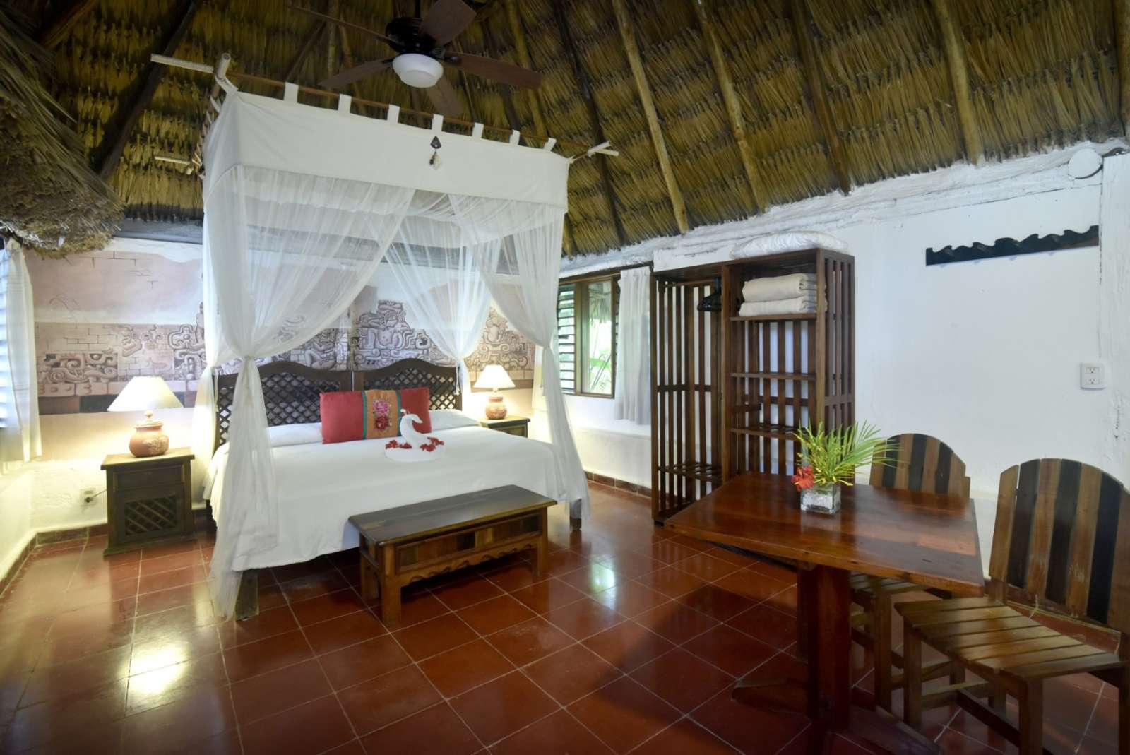 Four poster bed at Rancho Encantado Bacalar