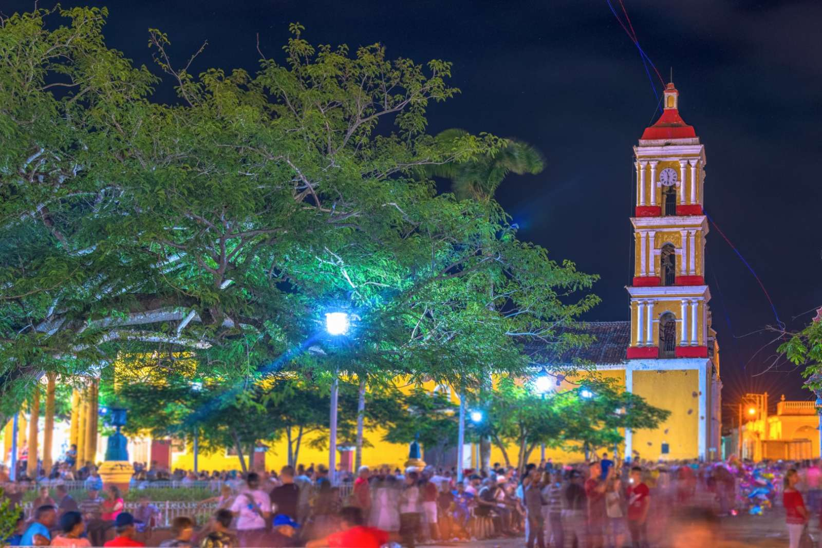 Evening crowd during Las Parrandas in Remedios, Cuba