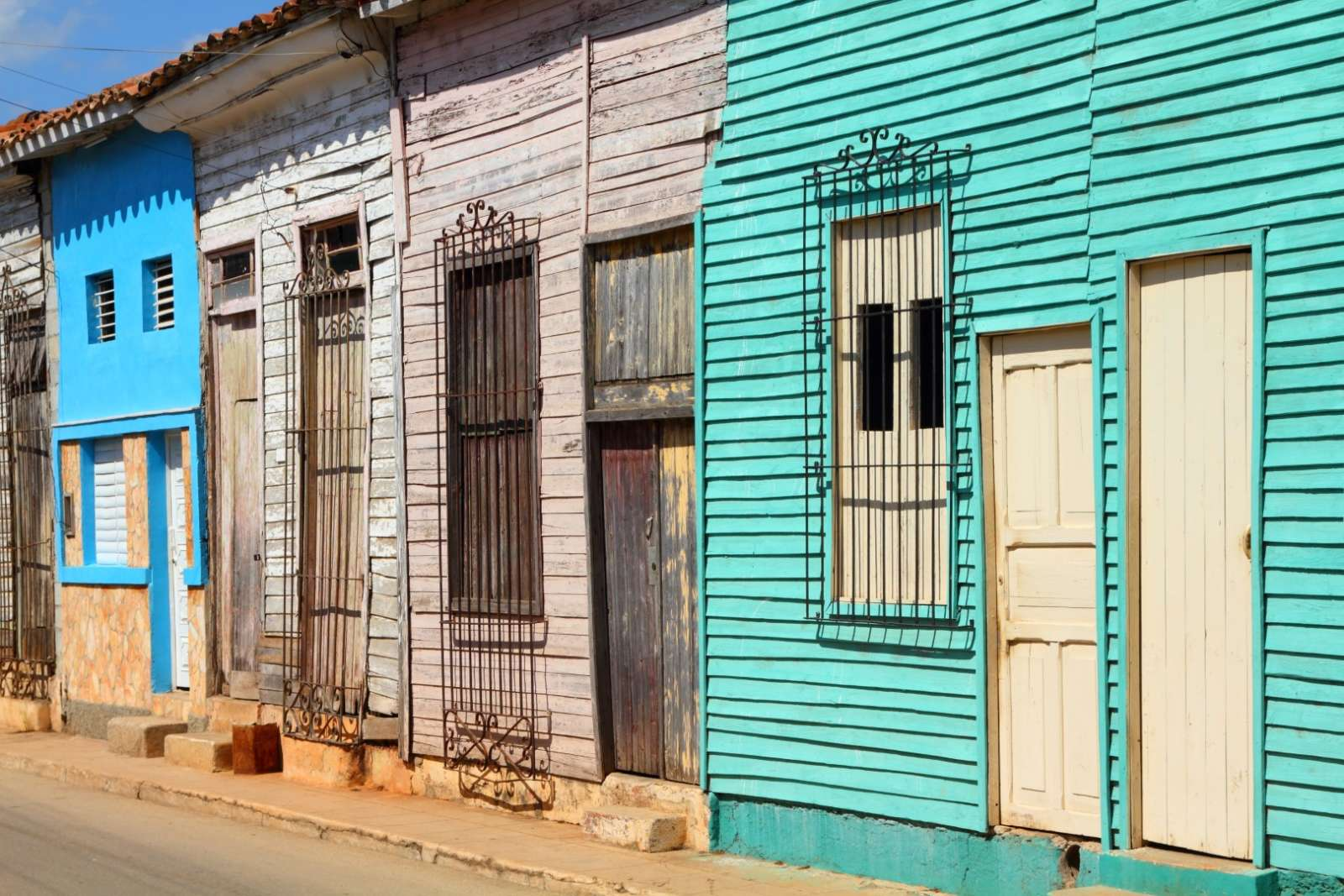 Old wooden buildings in Remedios, Cuba