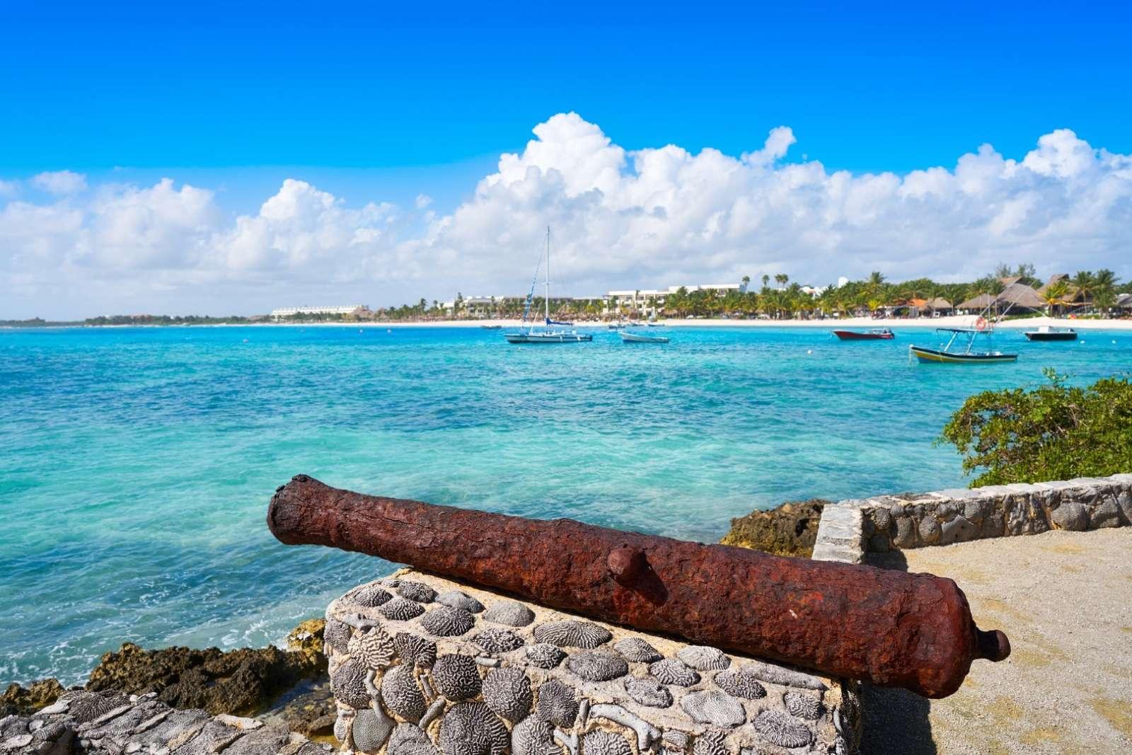 Cannon overlooking Akumal in the Riviera Maya Mexico