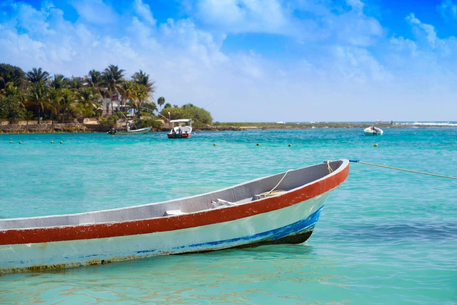Fishing boat on the Riviera Maya Mexico