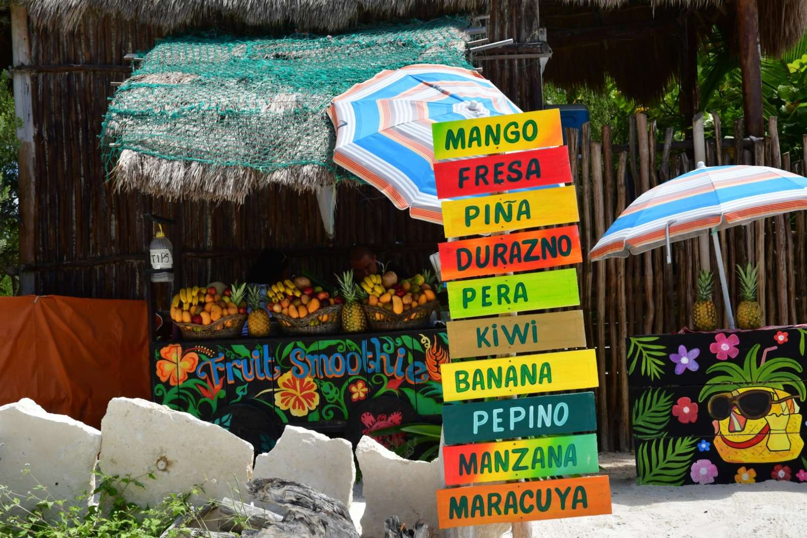 Juice stall in the Riviera Maya Mexico