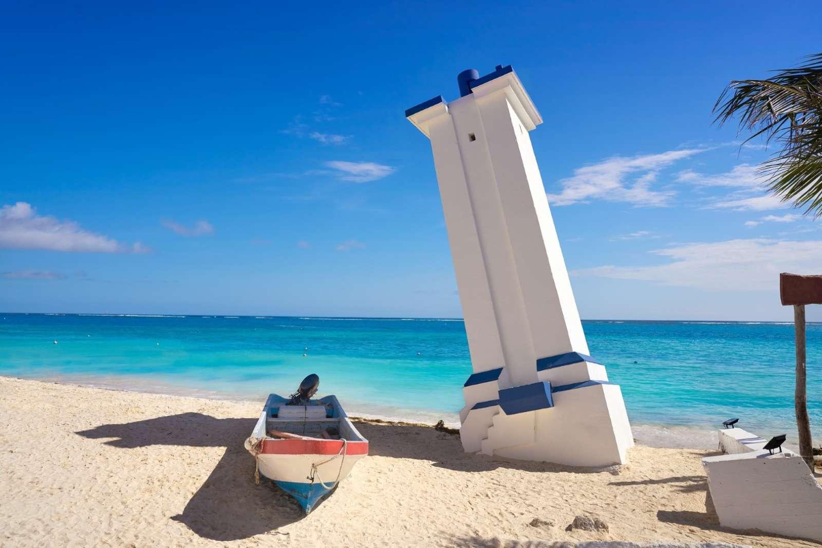 Lighthouse at Puerto Morelos on Riviera Maya Mexico