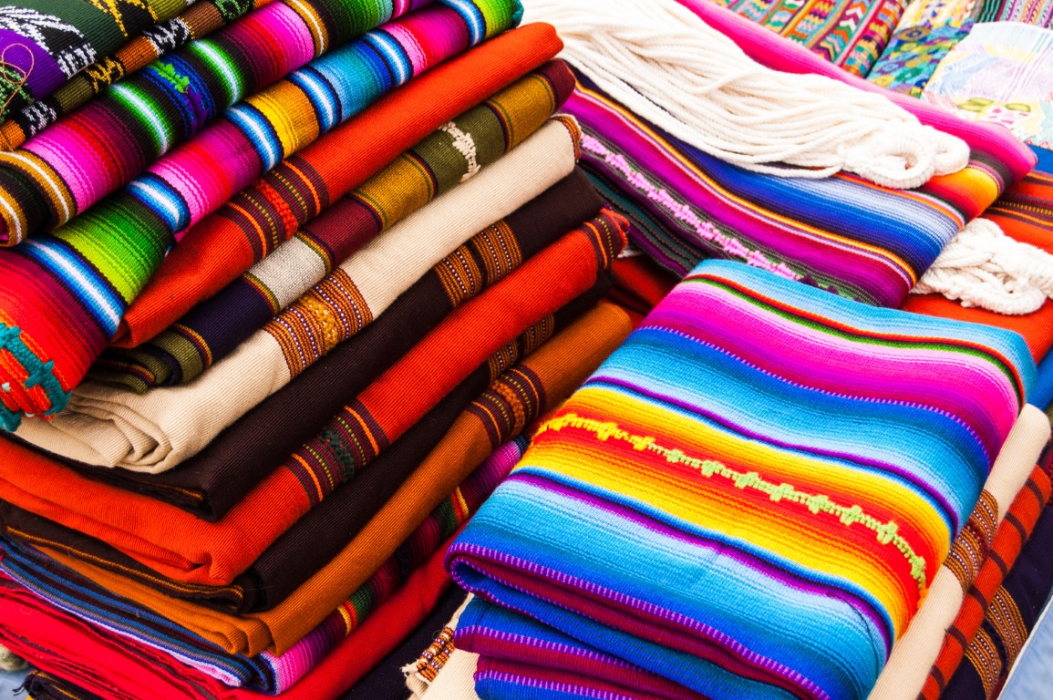 Colourful textiles at San Antonio Aguas Calientes