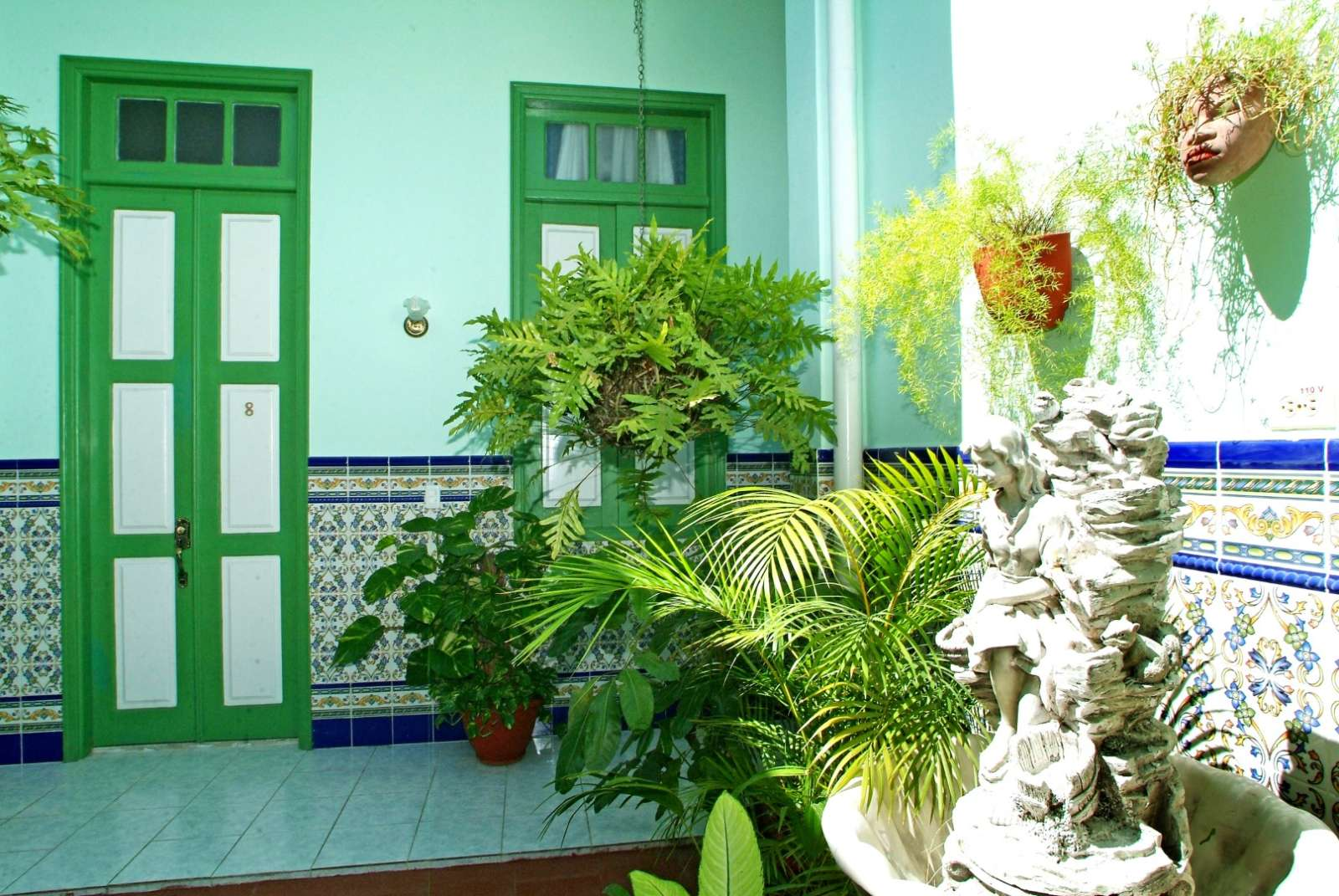 Interior and fountain at Hostal San Basilio
