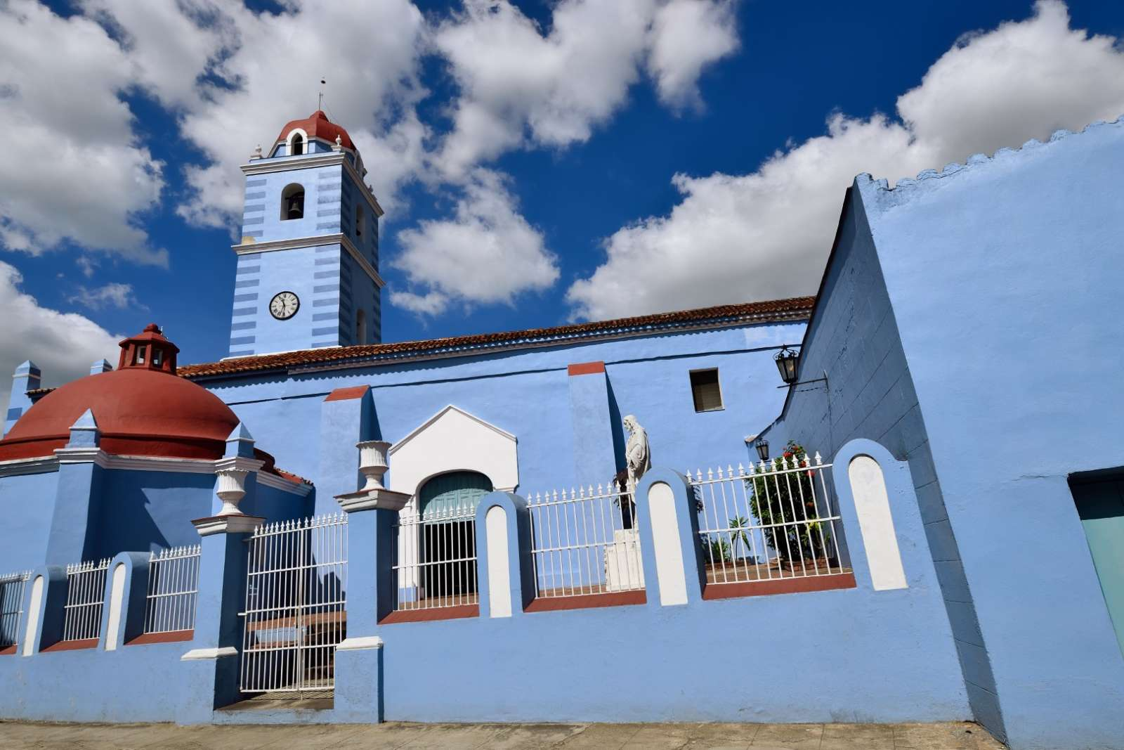 Attractive, old blue church in Sancti Spiritus, Cuba