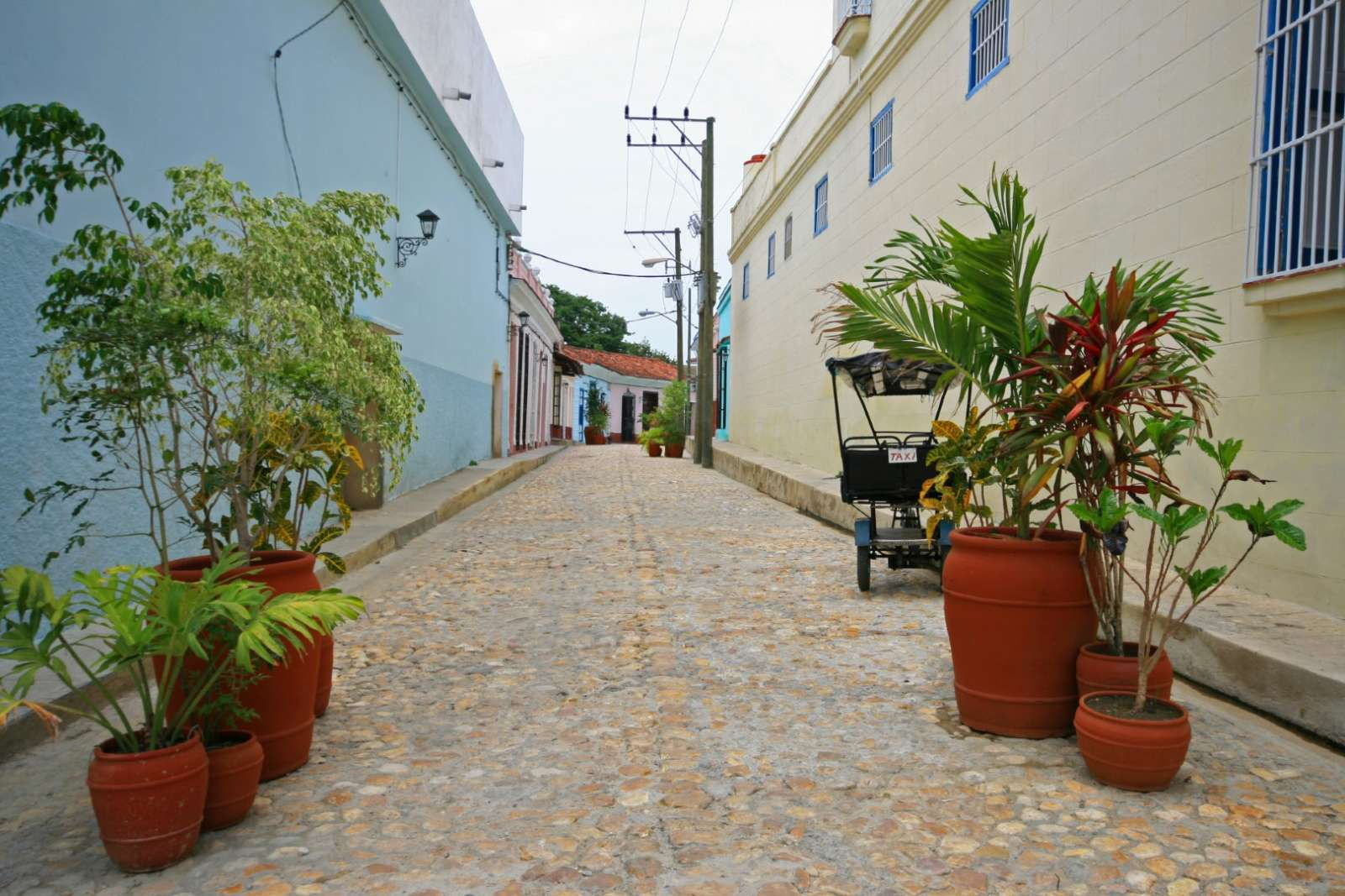 A quiet, cobbled street in Sancti Spiritus, Cuba