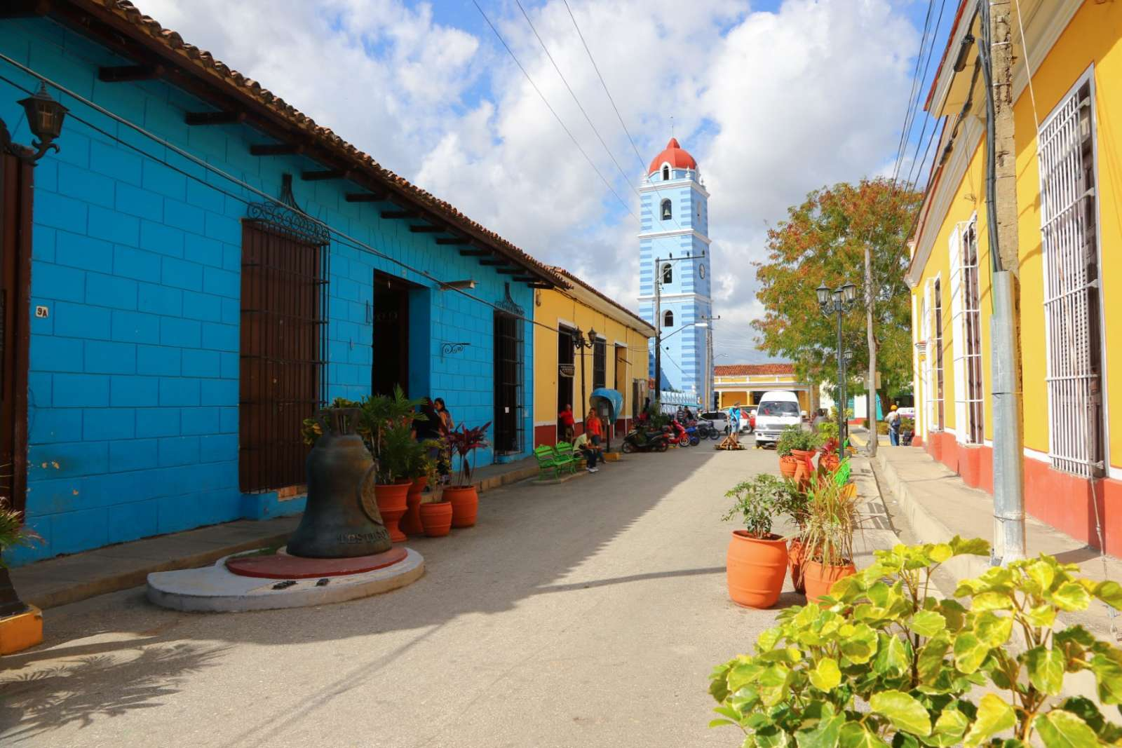 Colourful street leading to Parroquial Mayor in Sancti Spiritus, Cubaldest Church In Cuba In Sancti Spíritus