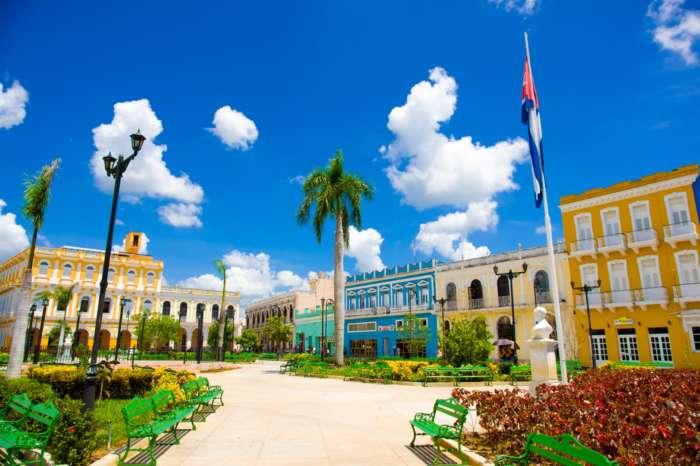 Main plaza in Sancti Spiritus, Cuba