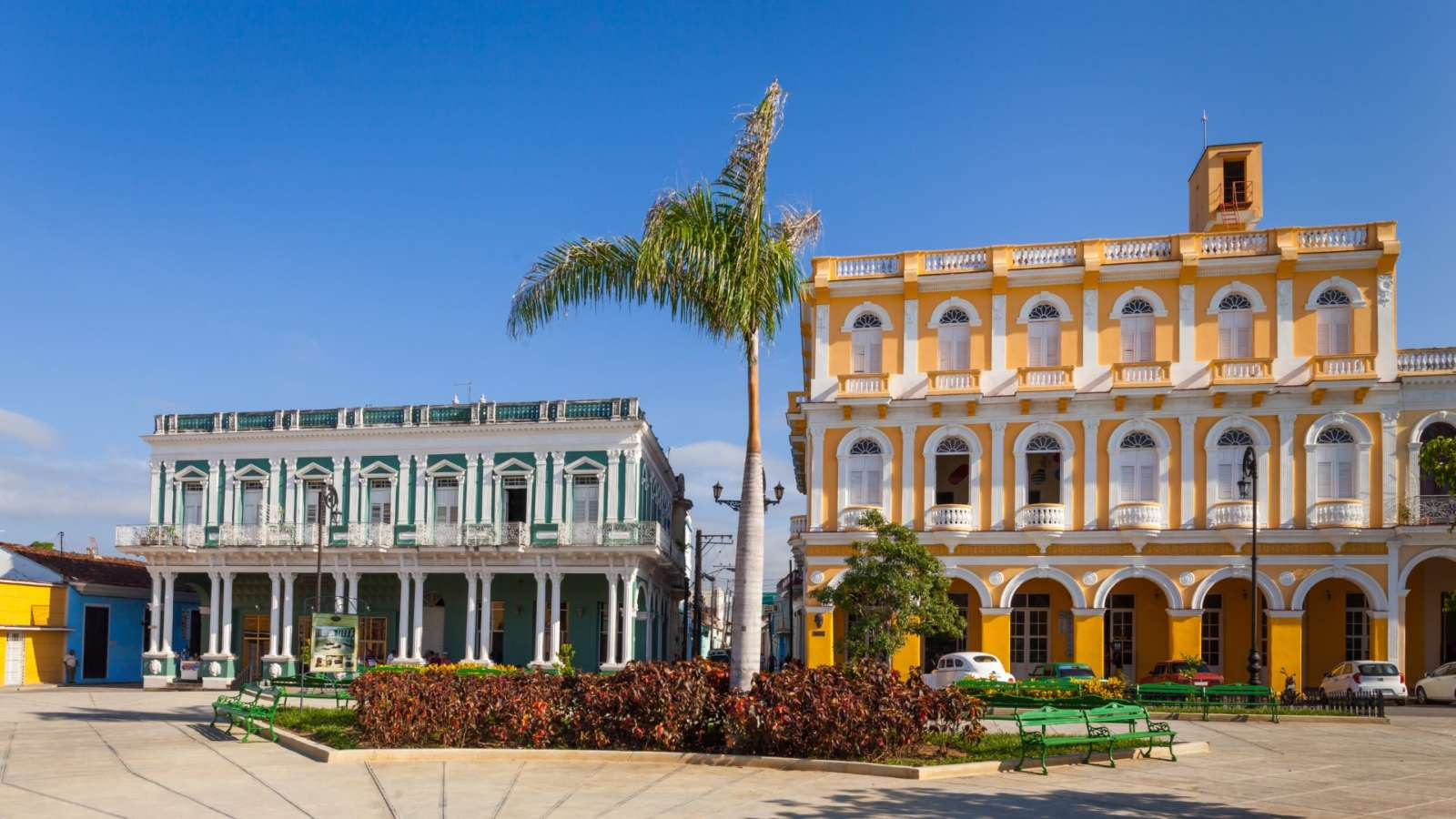 Colonial Houses Facing Serafin Sanchez in Sancti Spiritus Park, Sancti Spiritus, Cuba