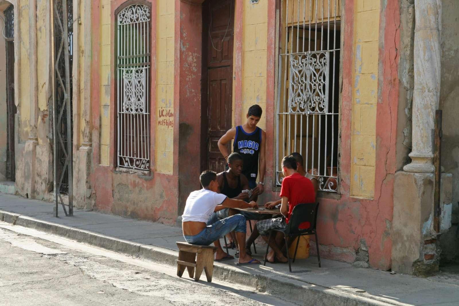 Boys playing dominos in Santiago de Cuba