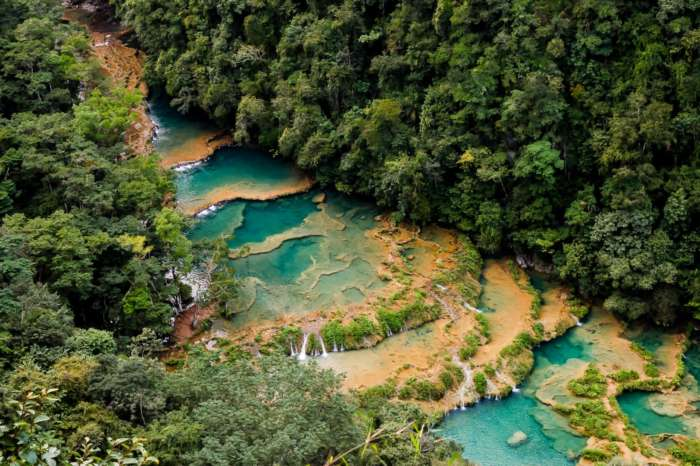 Aerial view of Semuc Champey in Guatemala
