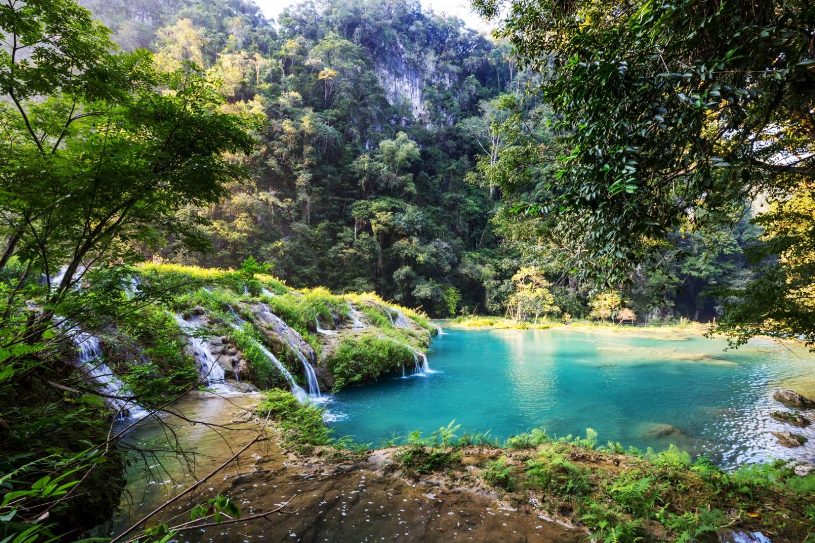 Cascades at Semuc Champey in Guatemala