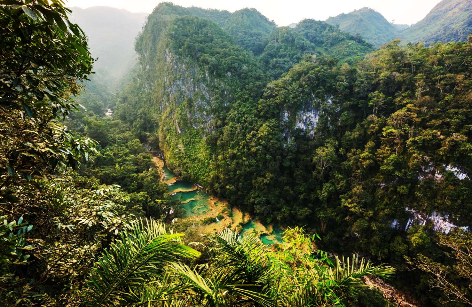 Aerial view of Semuc Champey valley gorge in Guatemala