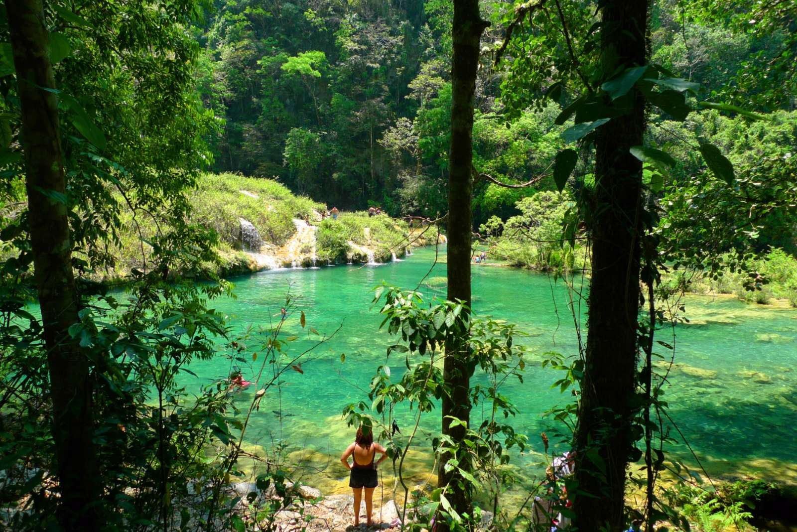 Woman looking at pool in Semuc Champey in Guatemala