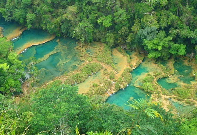 An aerial view of Semuc Champey in Guatemala