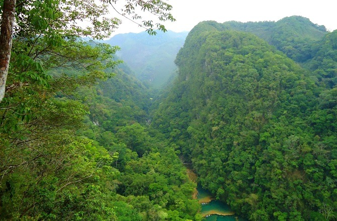 An aerial view of Semuc Champey