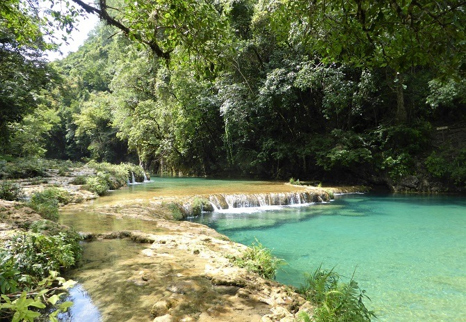 A small waterfall at Semuc Champey