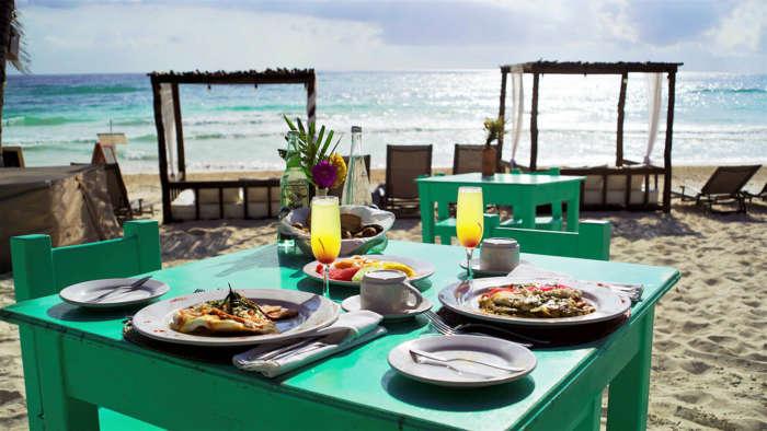 Small beach hotel in Tulum, Mexico