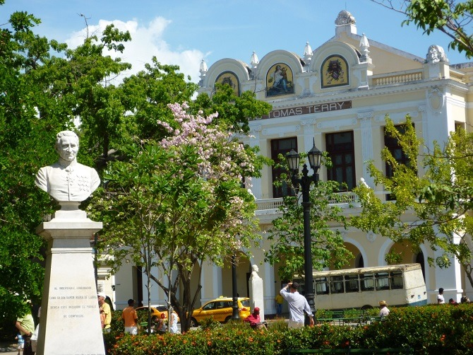 Looking across Parque Jose Marti to Teatro Tomas Terry in Cienfuegos, Cuba