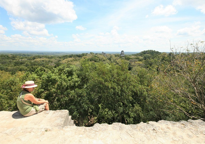 Overlooking the jungle canopy at Tikal