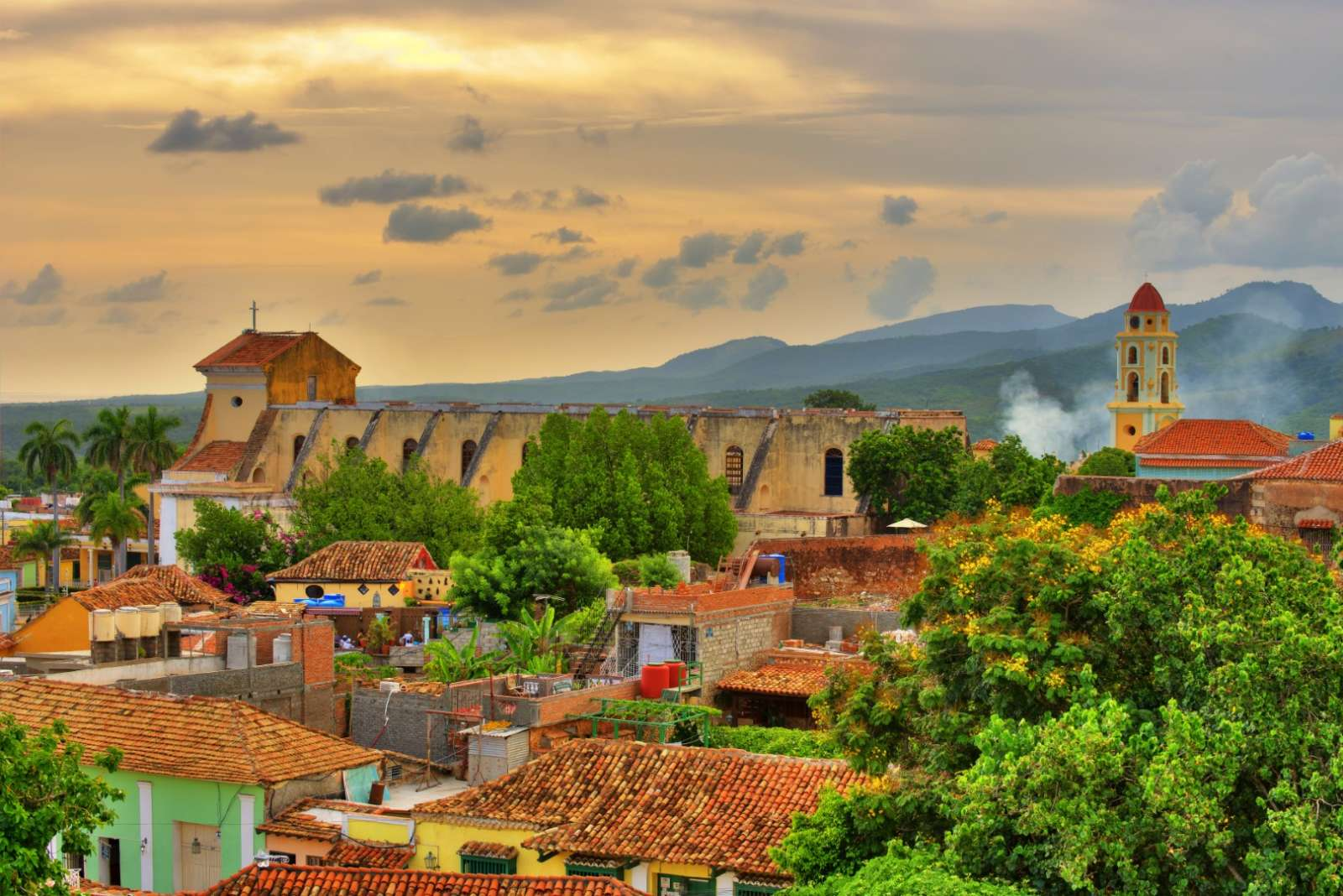 Aerial view over Trinidad, Cuba at sunset