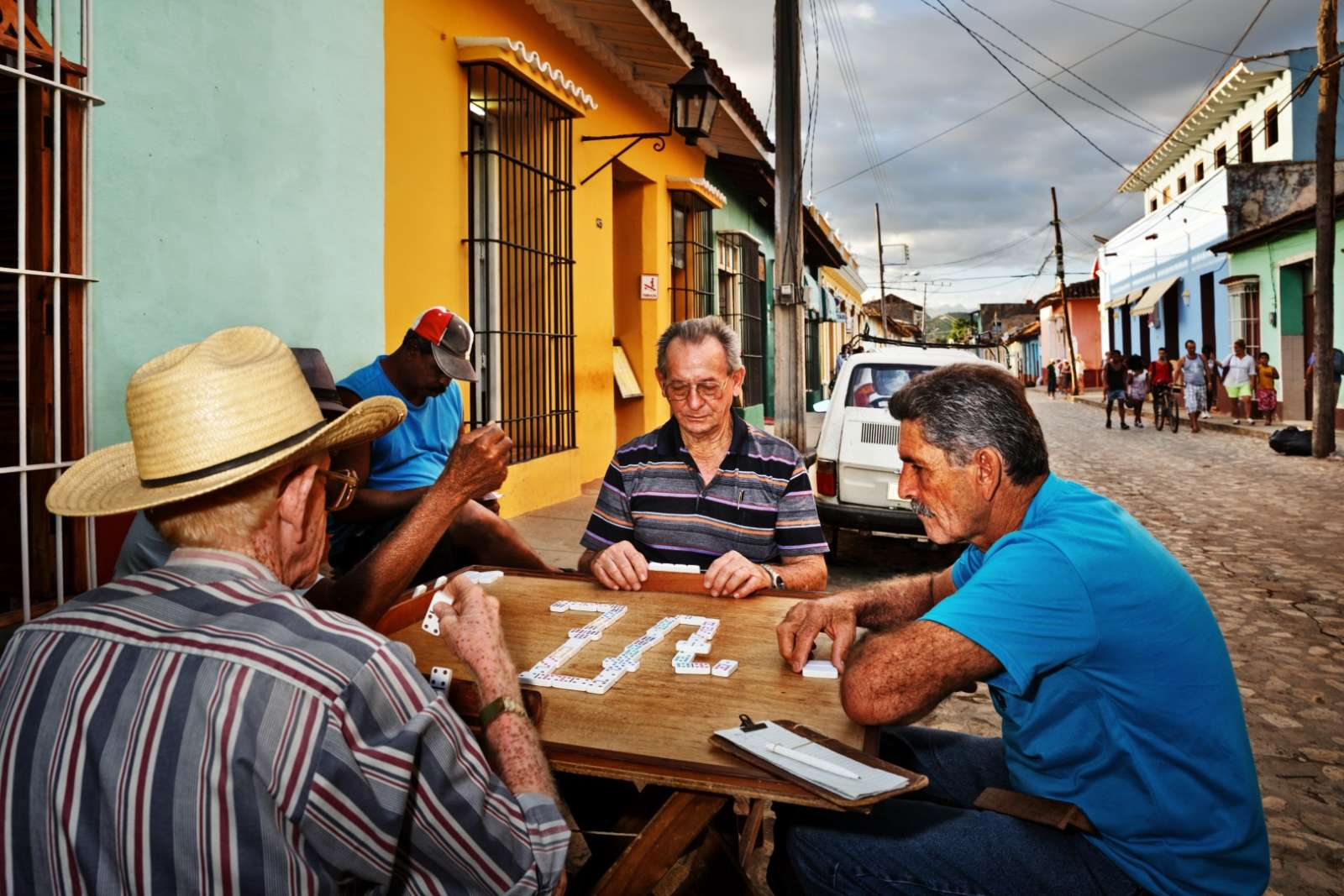 Men playing dominos in Trinidad, Cuba