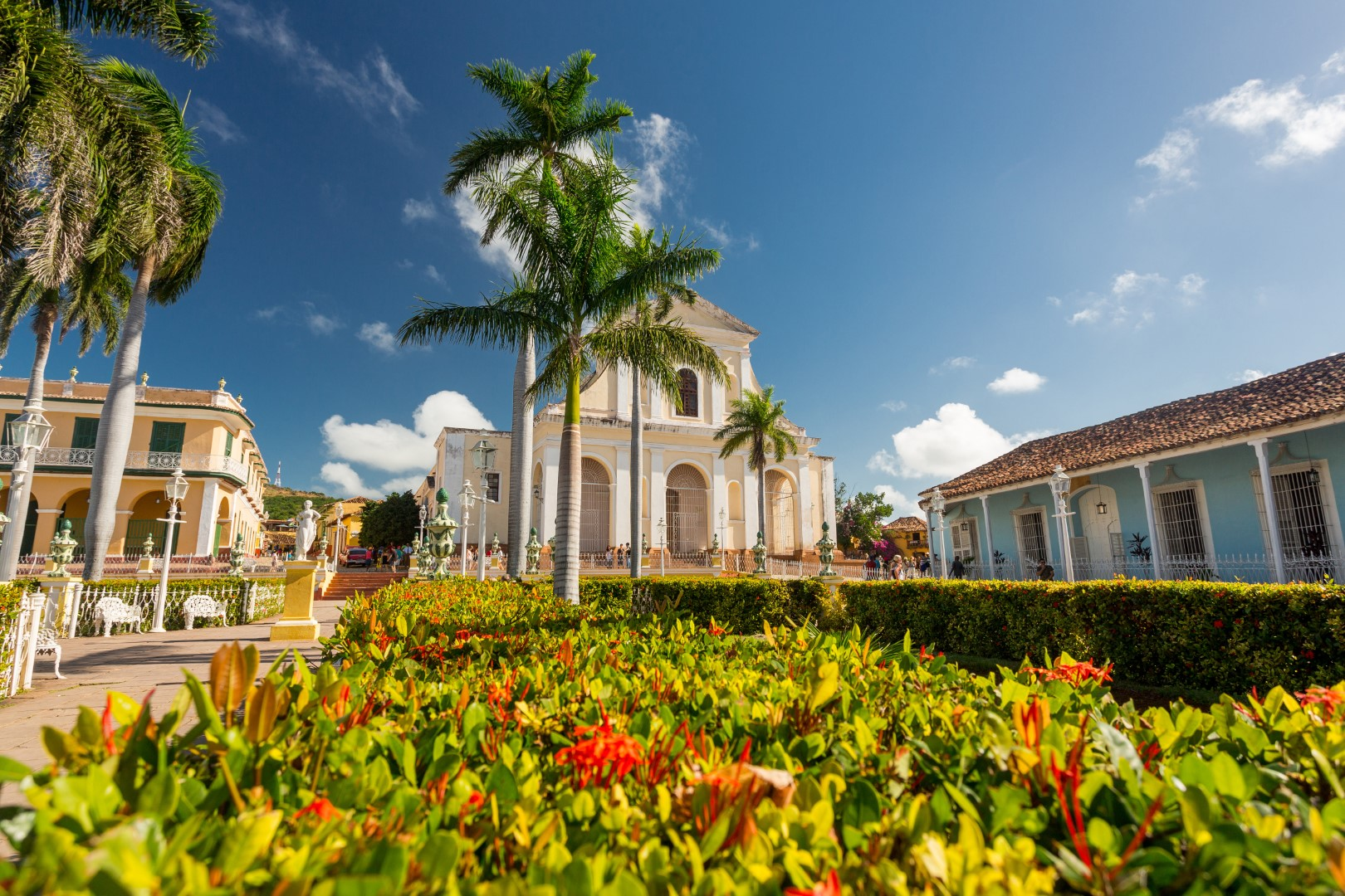 Plaza Mayor and church in Trinidad, Cuba