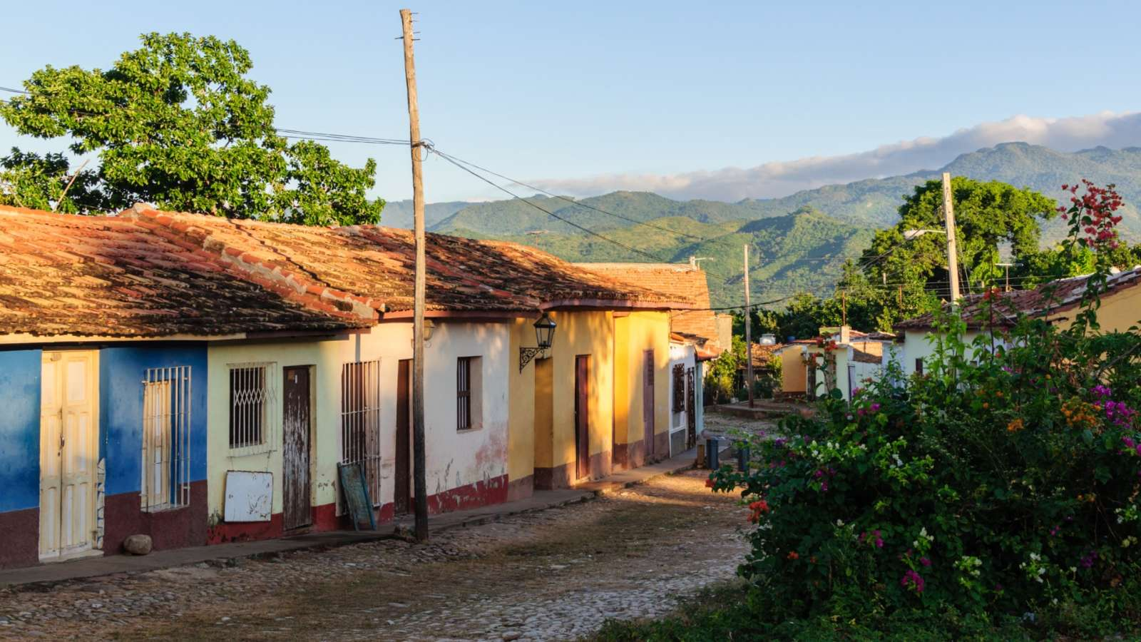 Street in Trinidad, Cuba with Escambray mountains behind