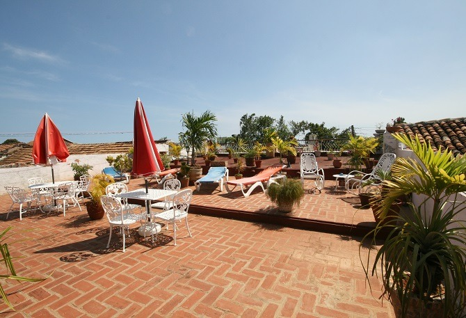 The rooftop terrace of Casa Buri y Nesti in Trinidad, Cuba