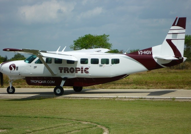A Tropic Air plane arriving at Corozal airport in Belize