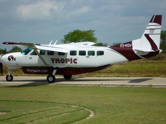 Tropic Air plane at Corozal Airport in Belize