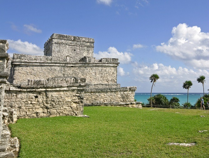 The ruins of an old building at Tulum in Mexico