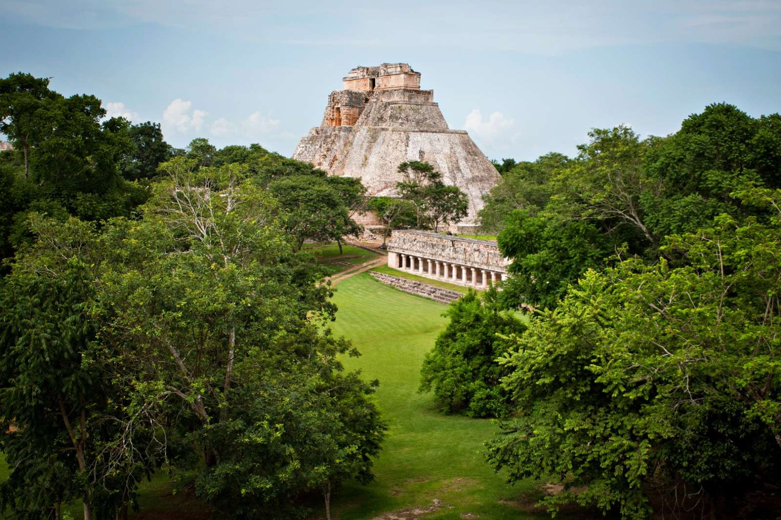 View to main pyramid at Uxmal, Mexico