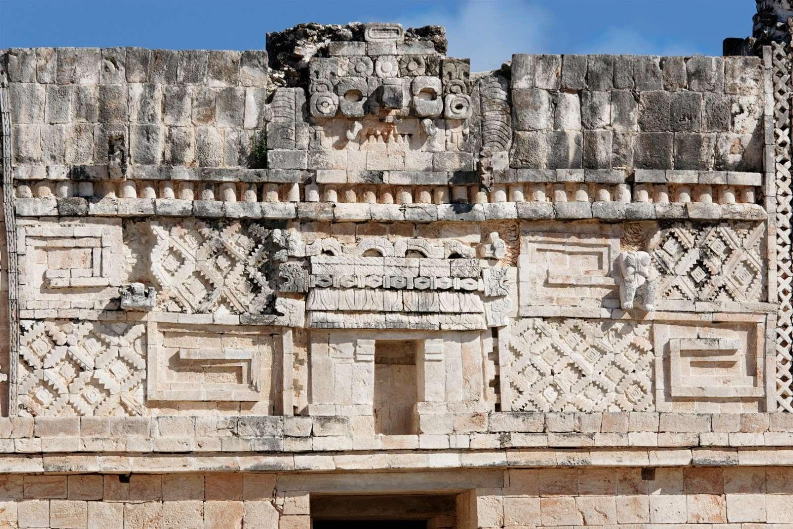 Wall carvings at Uxmal, Mexico