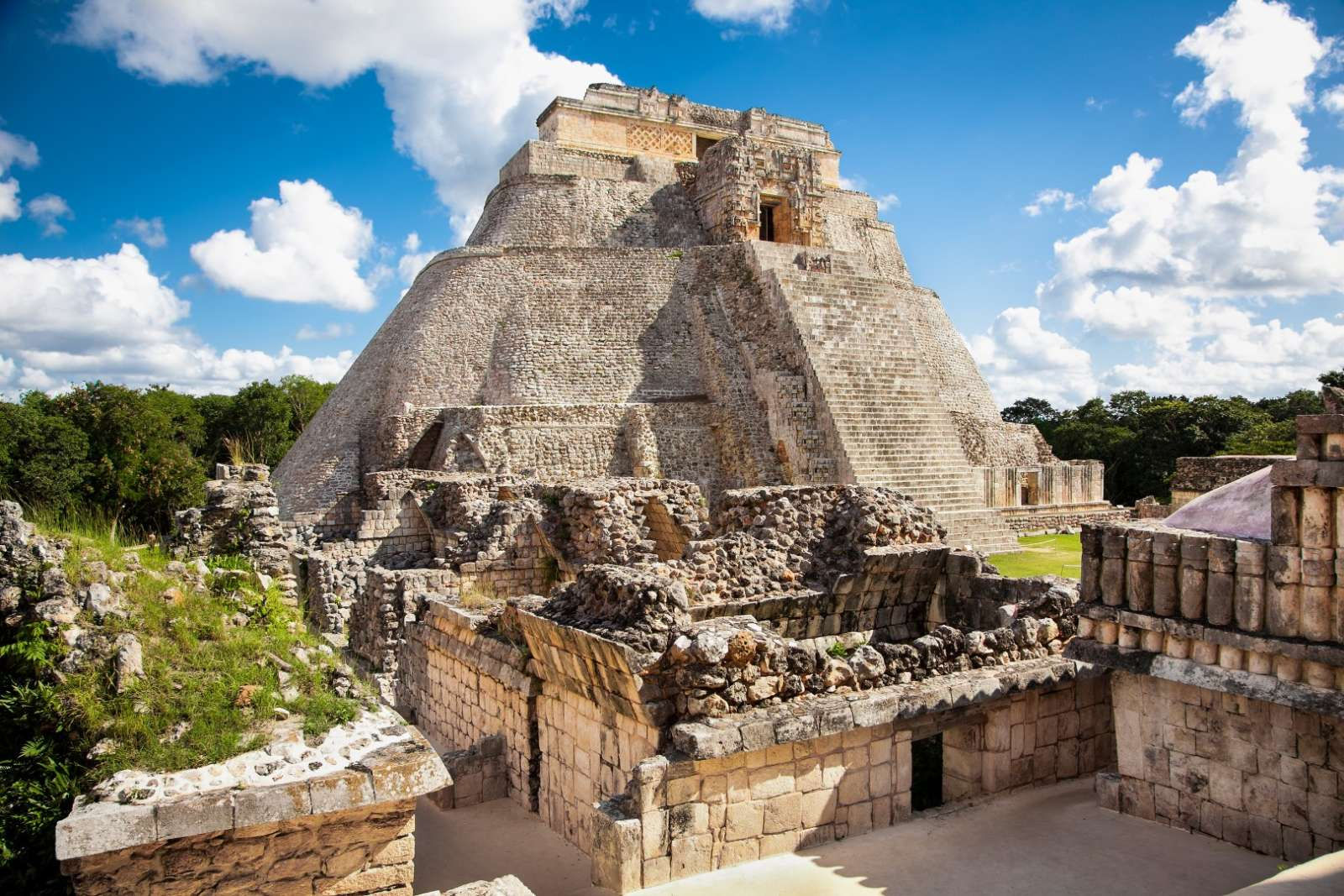 Temple of the magician at Uxmal, Mexico