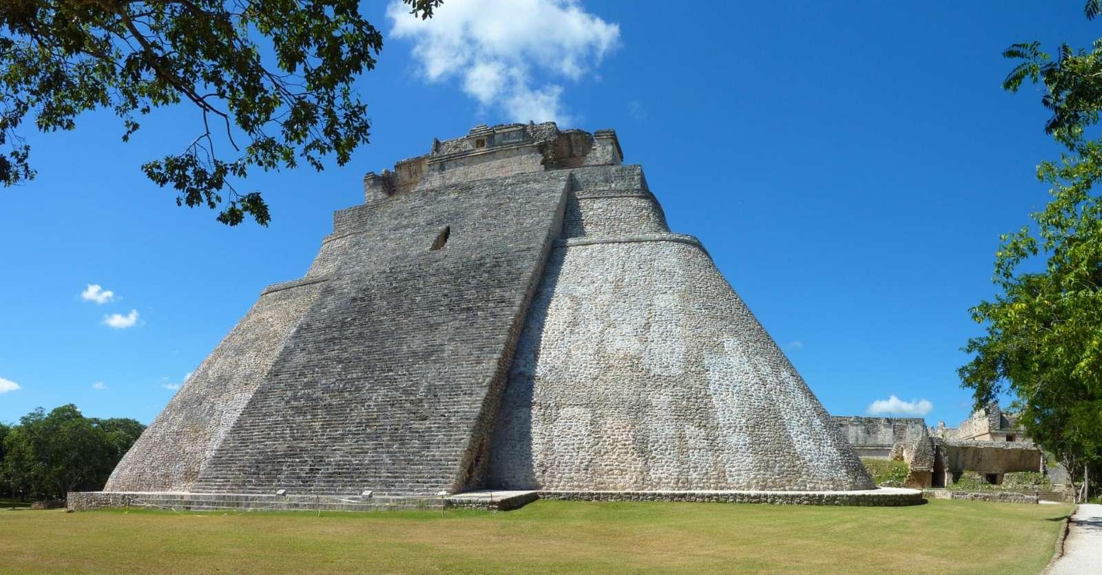Impressive pyramid at the Mayan city of Uxmal, Mexico